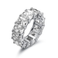 Big CZ Cubic Zircon Stone White Gold Color Rings for Women Fashion Jewelry Day Gift Fashion Ring 925 Sterling Silver Men's ring