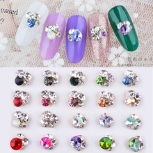 10pc Random Gradient Chameleon Crystal Diamond Lot Nail Art Decorations 3d Manicure UV Gel
