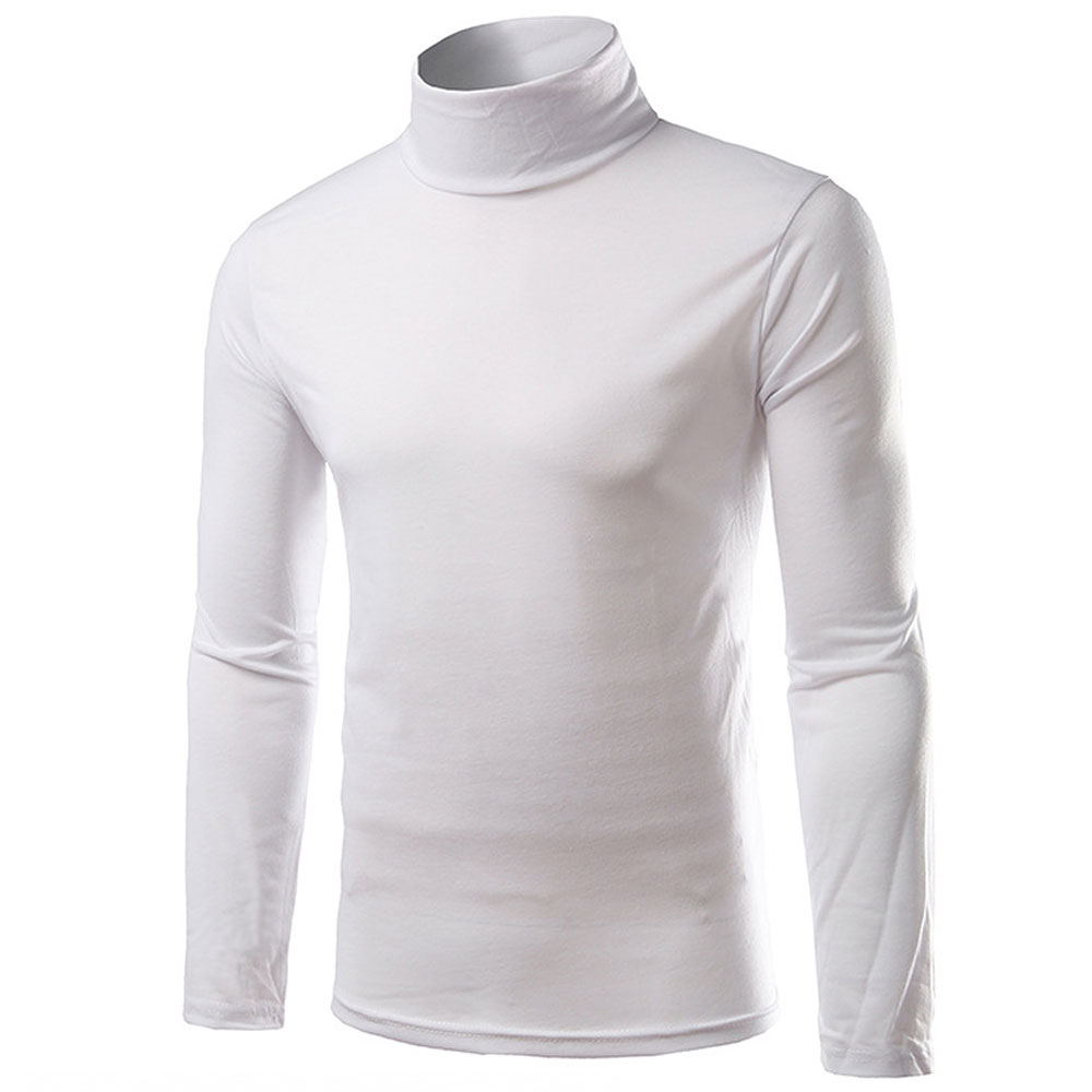 SML Gray Basic Mock Turtleneck Stretch Long Sleeve Casual Solid T Shirt Tee Top