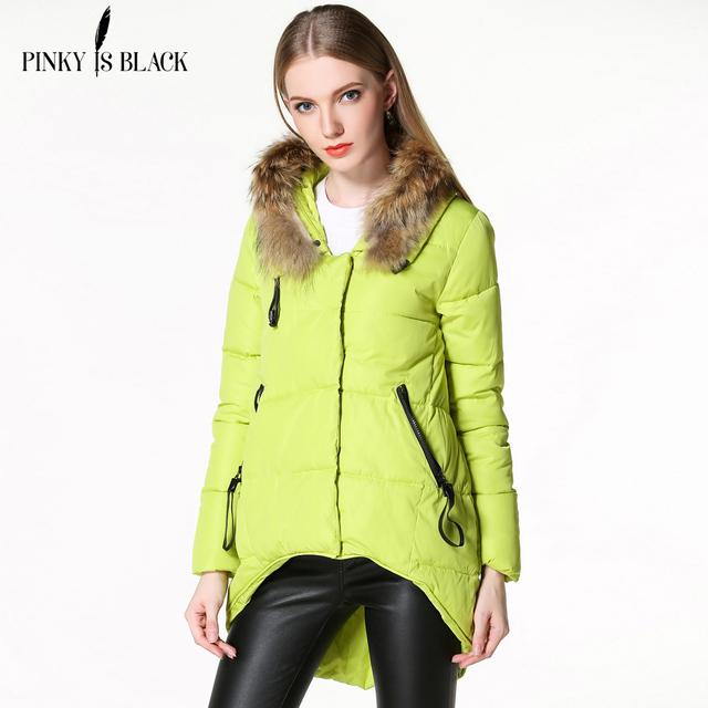 Chaqueta de invierno mujeres Real fur capucha wadded chaqueta engrosamiento chaqueta de algodón acolchado ocasional medio-largo femenino abrigo de invierno mujeres