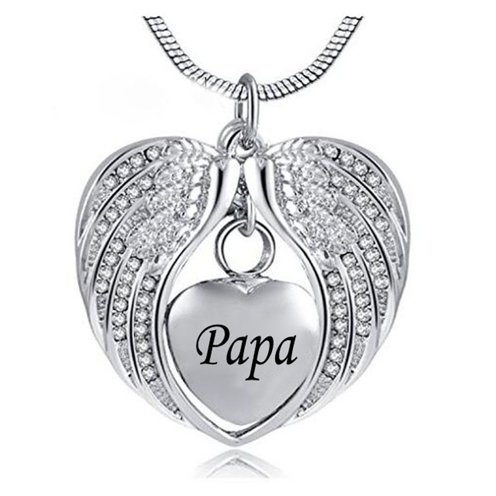 Personalized Angel Wing Hold Heart Cremation Urn Necklace -Engraving Mom/Dad/Son Keepsake Memorial Jewelry for ashes