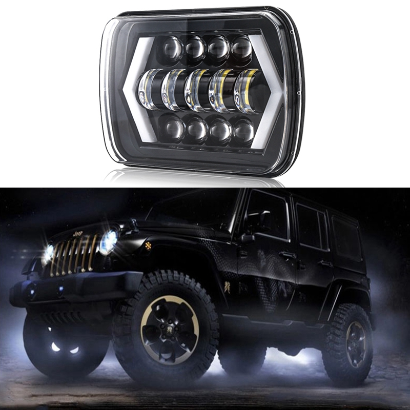 2 Pieces 7x6'' 5D LED Headlight Halo DRL For 86-95 Jeep Wrangler YJ 84-01 Cherokee XJ  Angel Eyes DRL H4 LED Square Headlights universal black 3 76mm polished aluminum fmic intercooler piping kit diy pipe length 450mm for jeep cherokee xj ep lgtj76 450