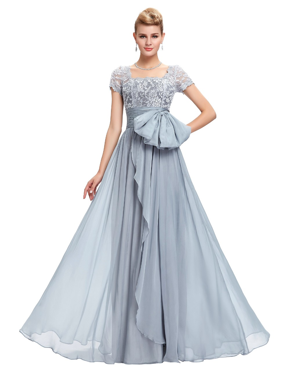 Grace Karin Chiffon Lace Elegant Long Evening Dresses Grey Formal Evening Gowns robe de soiree longue GK4445 7