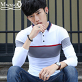 2016 Марка повседневная мужчины хлопок polo shirt Мужская мода рубец Печати Slim Fit с длинным рукавом Polo camisa polo masculino