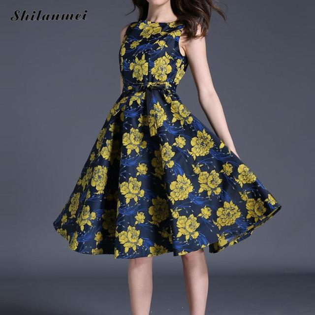 US $30.0 |Women Summer Dress elegant vintage printed floral dress with belt  yellow and blue slimming plus size party dress robe xl xxl-in Dresses from  ...