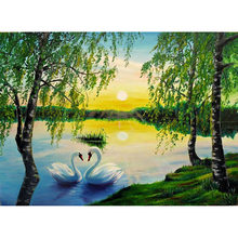 5D Diamond Home Decor Simple And Fresh Green Trees And White Swans Paintings Fashion HD Pictures Bedside Background(China)