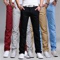 2017 verano nueva marca negocio casual hombres pantalones de algodón delgado de los pantalones de moda los pantalones rectos sólidos pantalones khaki negro cómodo