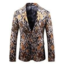 spring new 2019 3d print leopard mens casual blazer jacket plus size 5xl suit jacket for men long sleeve stand collar plus size 3d flower and leopard print jacket