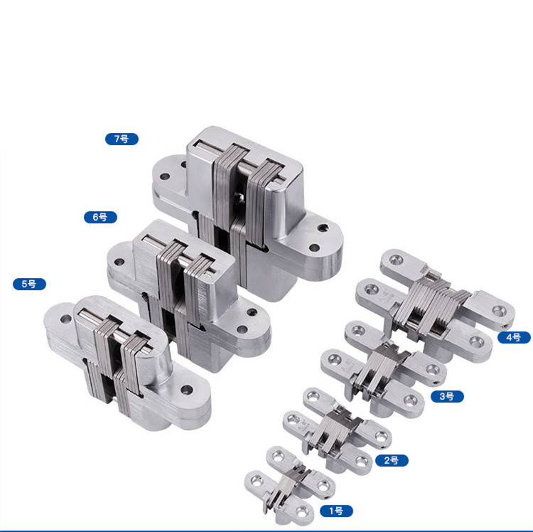 7 Size 304 Stainless Steel Hidden Hinges Invisible Concealed Folding Door Hinge With Screw For Furniture Hardware