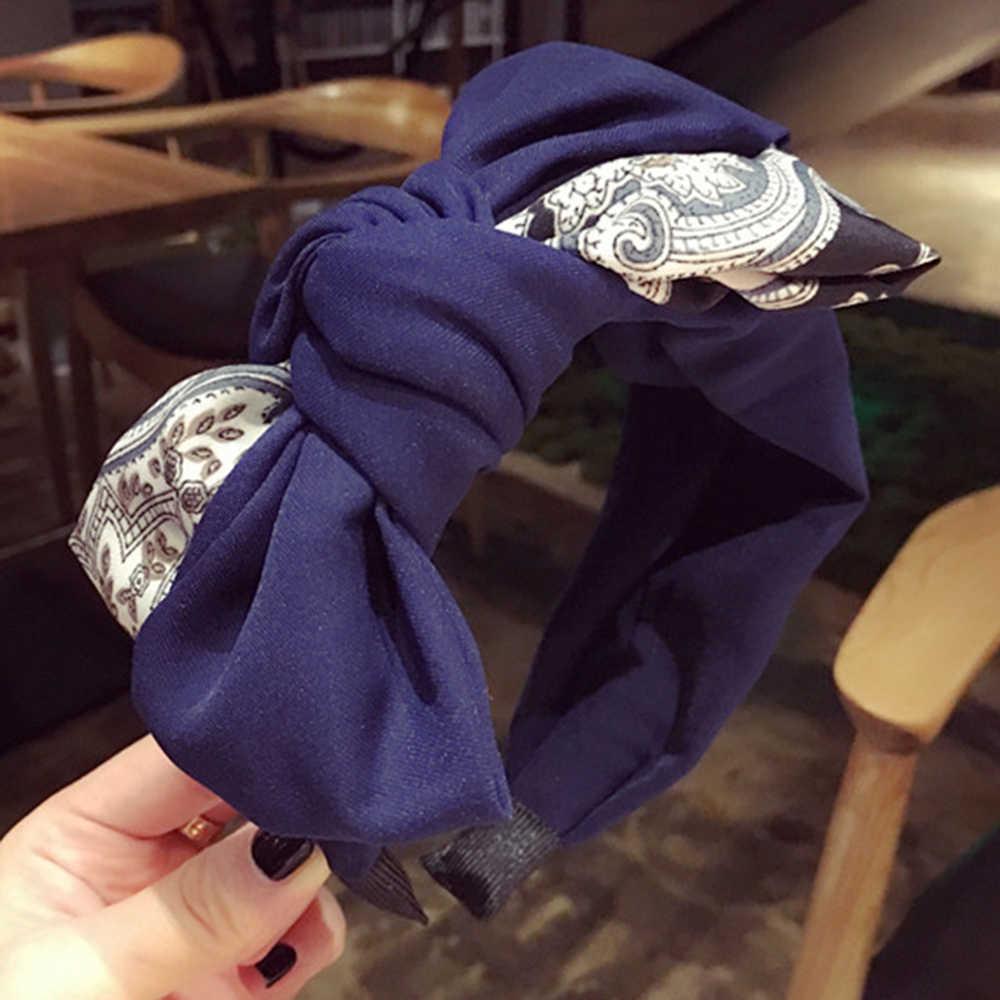 Moda başörtüsü Vintage kafa bandı büküm Hairband kadınlar fiyonk düğüm bandı büküm kafa bandı şapkalar saç bandı Chic Hoop