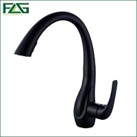 FLG Spring Style Kitchen Sink Faucet Mixer Pull Out Single Handle Deck Cold Water Tap Black