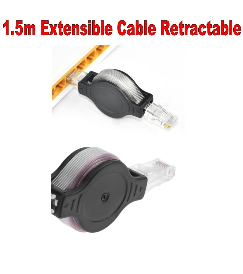 1.5m Extensible Retractable RJ45 Internet Network LAN Modem Router Wire