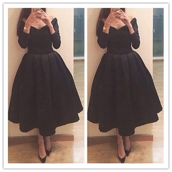 Chapel Modern Short Prom Dresses A Line Off the shoulder Long Sleeve Tea-Length Evening Dresses Cocktail Party Gowns
