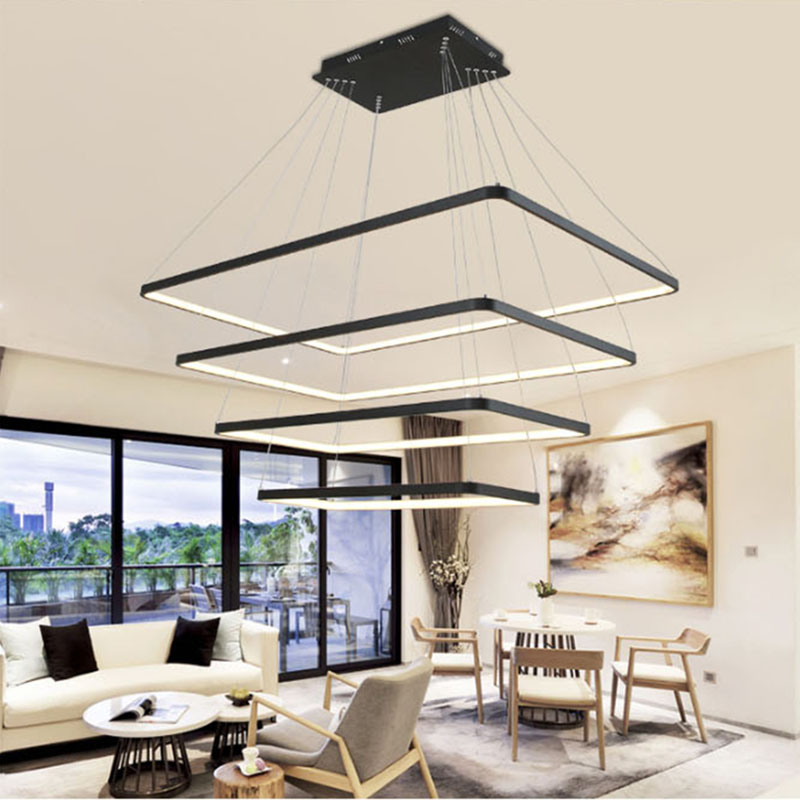 AC85-265V Modern LED pendant chandeliers living dining room decor hanging lighting chandeliers aluminum square dimming fixtures lodooo vintage crystal chandelier lighting candle chandeliers rh pendant hanging light for living and dining room decor led lamp