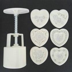 AMW 50g w kształcie serca miłość kwiaty ciastko księżycowe formy prasa ręczna plastikowe wycinaki tłokowe akcesoria do pieczenia ciasta w Narzędzia do pieczenia i cukiernictwa od Dom i ogród na