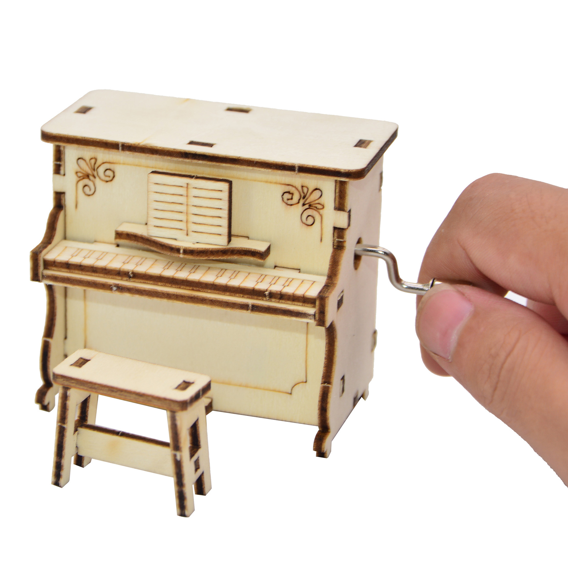 3D DIY Wooden Puzzle Wind Up Music Box Mini Desktop Decor Piano Hand Cranked Music Box Play Castle In The Sky Gift For Kids