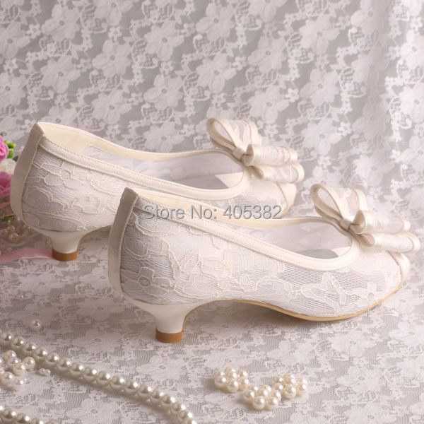 Wedopus Mw873 Custom Handmade 2016 New Women Cream Lace Low Heel Wedding Shoes Bride Bows In S Pumps From On Aliexpress Alibaba Group