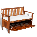 Living Room Bench Excellent Chair Acacia Wood Storage Bench For Home ES Stock