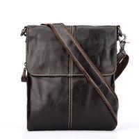 New Men's Leather Business Shoulder Bag Vertical Leisure Information Bag First Layer Leather Multi function Messenger Bag
