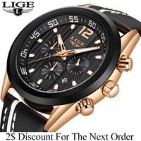 2019 LIGE мужские s часы лучший бренд класса люкс повседневные кожаные кварцевые часы мужские спортивные водонепроницаемые часы, золотые часы м