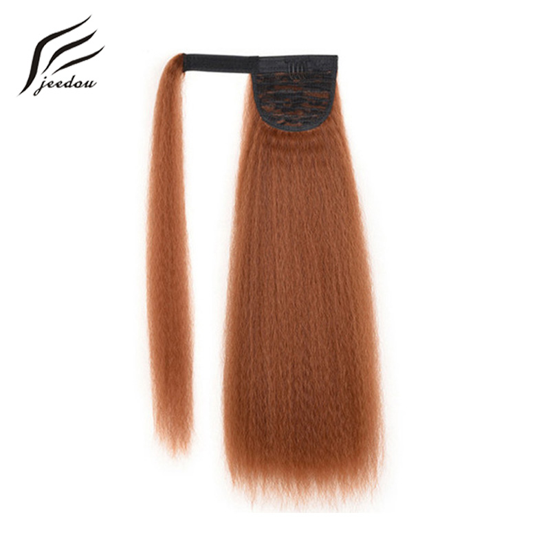 jeedou Synthetic Yaki Straight Hair Ponytail 55cm 100g  Wrap Around Ponytail Extensions(China)