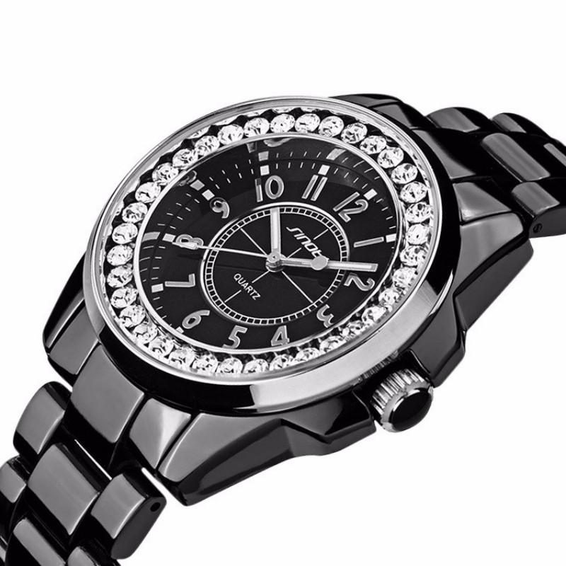 Prix pour Casual Montres Unisexe Quartzwatch hommes femmes Analogique montres de Sport Montres de luxe Céramique semble femmes Strass robe montres