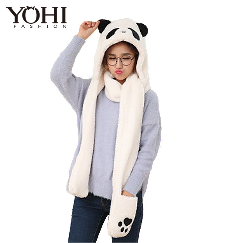 18346a016fd3 New Winter men and women warm Cute hat Panda cartoon lamb cashmere...