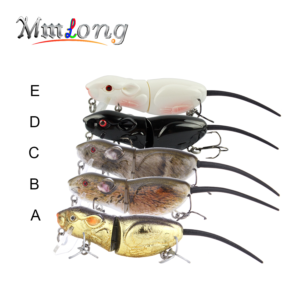 "Mmlong 2.5"" Rat Fishing Lure Realistic Mouse Crankbait Vivid 3D Eyes Swim Bait 10.3g Lifelike Fishing Wobbler Tackle Rat4-M"