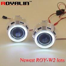 ROYALIN Новые W2 2.5 дюймов Галогенные H1 Bi Xenon Проектор Фары Линзы с 70 мм COB Angel Eyes Привет/lo для H4 H7 Автомобильные Фары