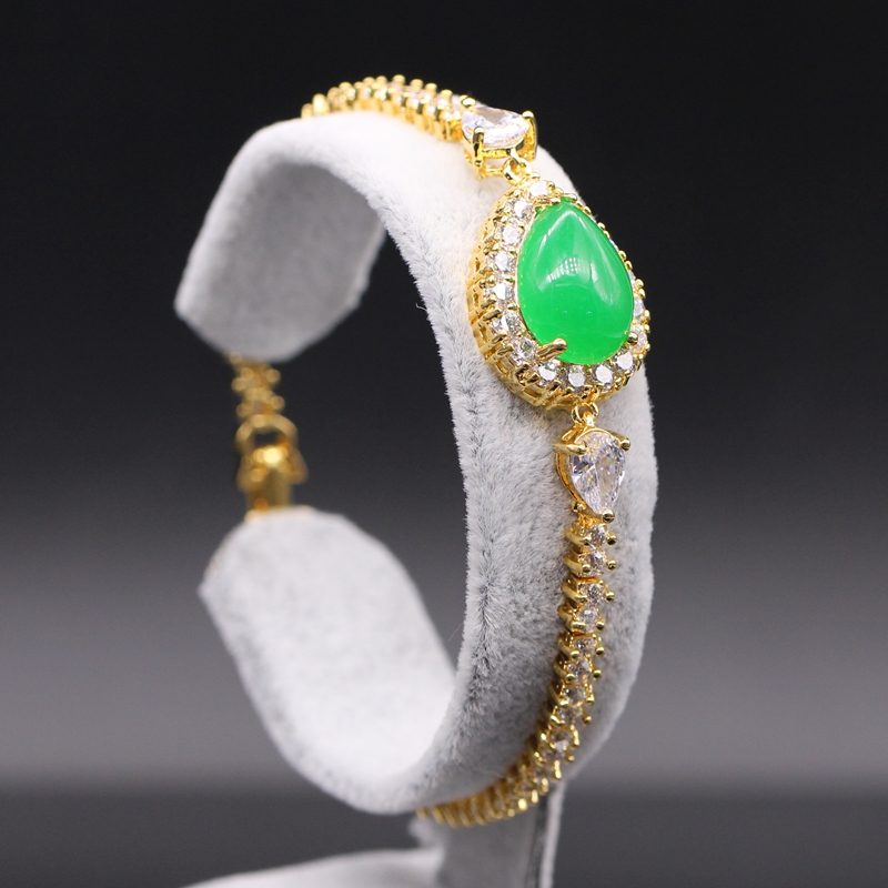 Gold Color Green Stone...