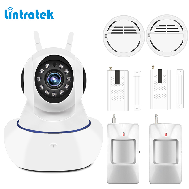Home Alarm Systems Security Protection 433mhz IP wifi Surveillance Camera Wireless Door Motion Smoke Sensor Detector LINTRATEK bw wifi camera ip doors sensor infrared motion sensor smoke detector alarm security camera wireless video surveillance bw14