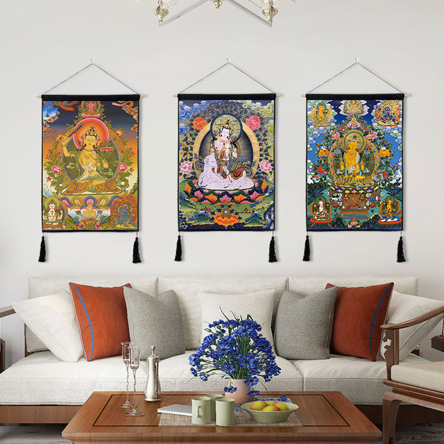 Traditional Thanka Beautiful Buddhist Scroll Painting Home Decor Wall Hanging Tapestry Cotton Linen Scroll Painting with Tassels