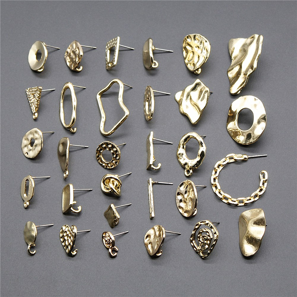 2pcs/lot Earrings Studs Accessories Jewelry Findings & Components Earring Accessories Golden Distorted Earrings Base Studs