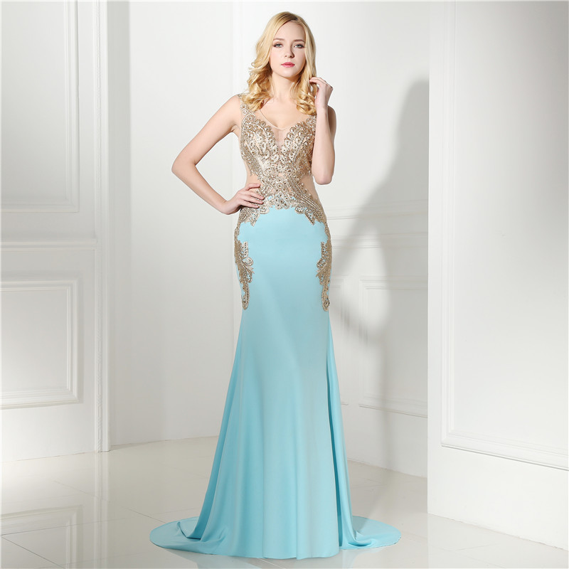 0111e60a1d6b Mermaid V Neck Prom Dress 2018 Sexy Illusion Sleeveless Applique Long Formal  Party Gown Plus Size Custom Made Wholesale ~ Super Deal July 2019
