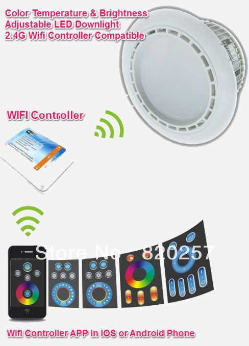free shipping 1*6W Color Temperature adjustable and dimmable led downlight+1*adapter+1*remote+1*wifi controller dhl ems free shipping 5pcs lot 9w e27 color temperature and brightness adjustable led bulb with remote 2 4g wifi compatible