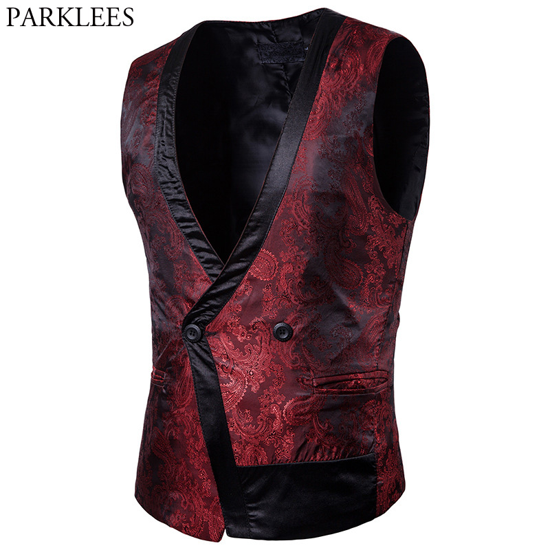 Mens Hipster Paisley Suit Vest 2018 Brand New Slim Fit Double Breasted Vest Waistcoat Men Wedding Business Chalecos Para Hombre