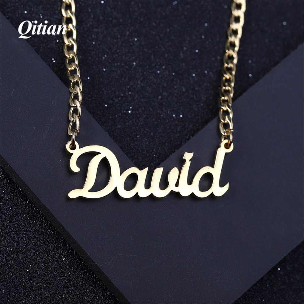 Nazwa naszyjnik płyta biżuteria i niestandardowy spersonalizowany naszyjnik Curban łańcuch ze stali nierdzewnej złoty choker naszyjniki dla kobiet