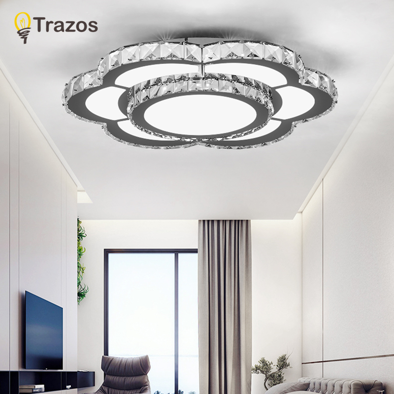 Modern LED Ceiling Light Crystal Porch Lamp Surface Remote control Lighting Fixture Balcony Corridors Living Room DecorModern LED Ceiling Light Crystal Porch Lamp Surface Remote control Lighting Fixture Balcony Corridors Living Room Decor