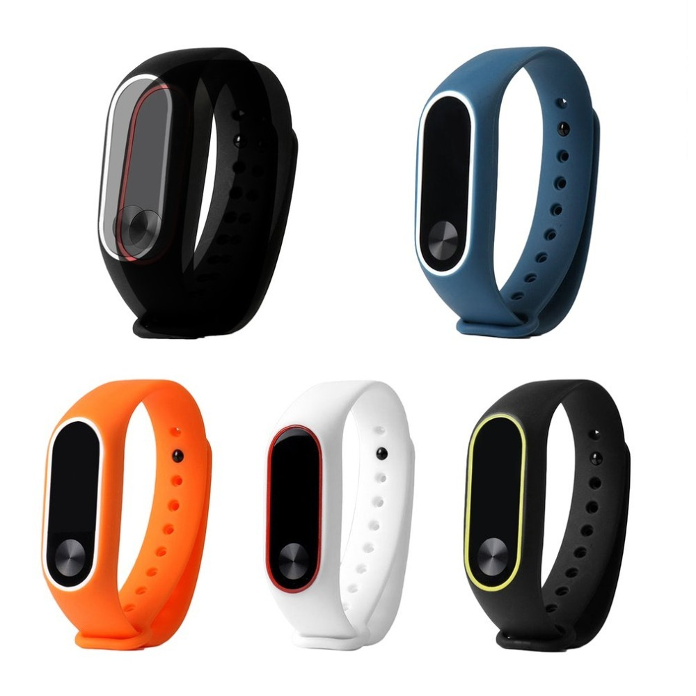 Premium Replacement Wrist Strap With Two Color Unique TPU Wristband Replacement For XIAOMI MI Band 2