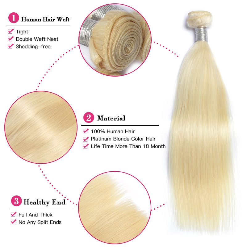 Image 3 - QUEEN BEAUTY 1/3/4 613 Blonde Hair Extensions Brazilian Hair Weave Bundles Straight Remy Human Hair 26 28 30 32 34 36 38 40 inch-in Hair Weaves from Hair Extensions & Wigs