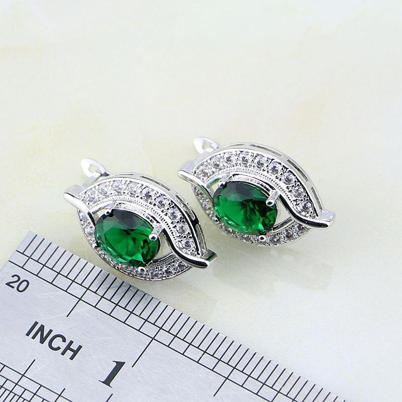 Eye Shaped Green Cubic Zirconia White CZ 925 Sterling Silver Jewelry