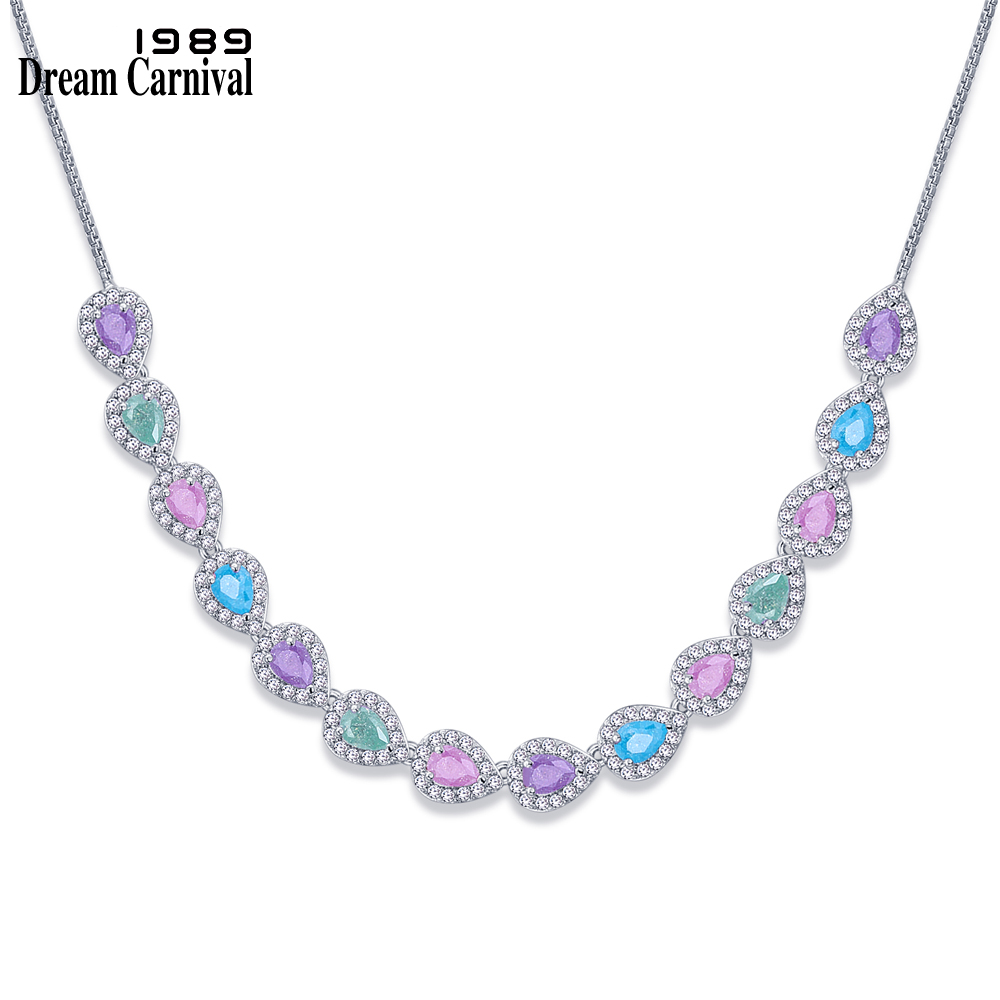 DreamCarnival 1989 Unique Pastel Colors Mix Rainbow Design Pink Blue Green Zircon Charms Necklace for Women Collares SN07018-FR