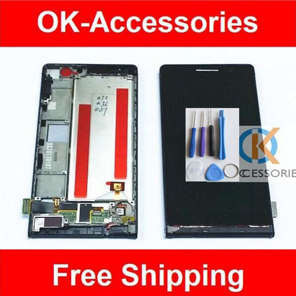4.7 Inches Original For Huawei Ascend P6 LCD Display+Touch Screen+Frame Assembly 1PC/Lot White Black Pink Color With Free Tools original lcd for huawei p7 ascend lcd display touch screen assembly 5 inch lcd replacement without frame free tools