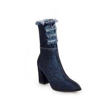 2018 Spring/Autumn New Pointed Toe denim boots women super high thin heels broken hole zipper girls boots blue rough shoes women 1