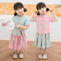 Girls Han Fu Twinset New Summer Cheongsam Qipao Chinese tradition Style Two piece Suit Princess Dress