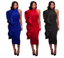 Summer Women dress 2019 Halter Sleeveless Ruffles Sexry Party Dress Red Black White Plus Size S-2XL Clothing