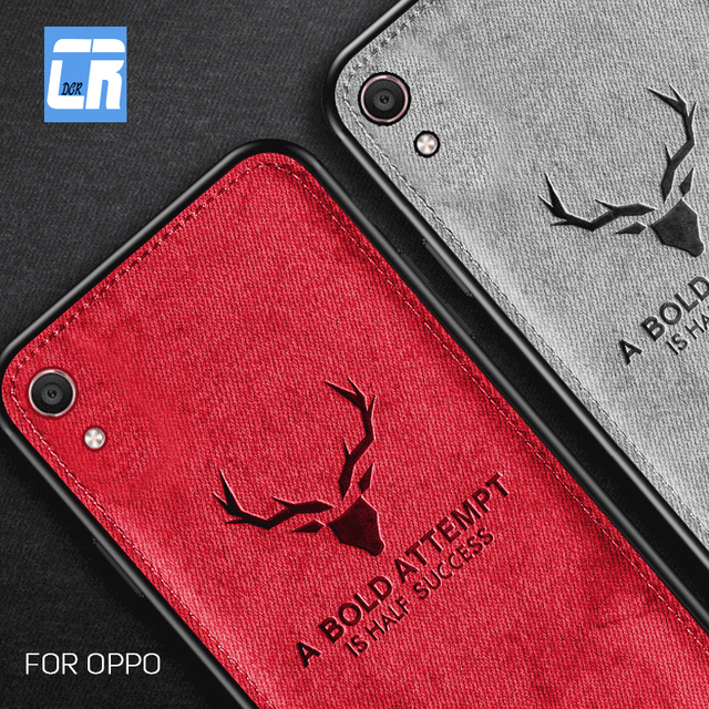 Soft TPU Cloth Canvas Embossed Deer Phone Case for OPPO A57 A59 A73 A77 F3 F5 A79 A83 A1 A3 A5 A7 F7 A9 F9 A7X K1 Find X Cover