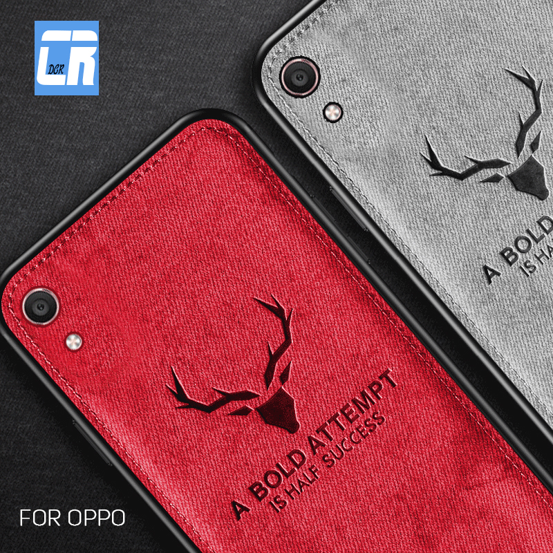 Soft TPU Cloth Canvas Embossed Deer <font><b>Phone</b></font> <font><b>Case</b></font> for <font><b>OPPO</b></font> <font><b>A57</b></font> A59 A73 A77 F3 F5 A79 A83 A1 A3 A5 A7 F7 A9 F9 A7X K1 Find X Cover image