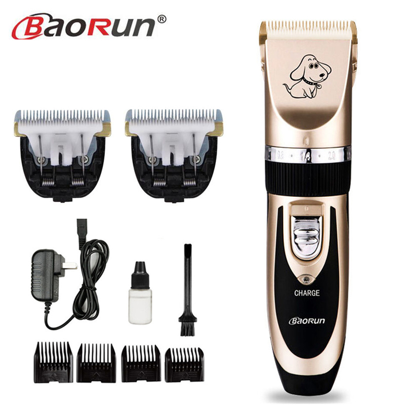Professional Pet Dog Cat Hair Clipper Grooming Trimmer Animal Titanium Hair Scissors Rechargeable Shaver Comb Kits 110-240VAC