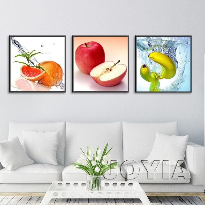 3 panel arte decoración pared imágenes frutas pintura al óleo lienzo ...